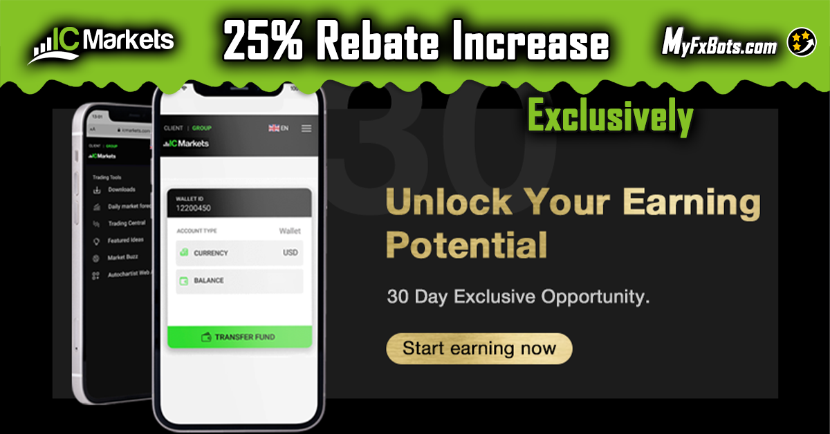 Exclusive ICMarkets 25% increase in all MyFxBots clients rebate